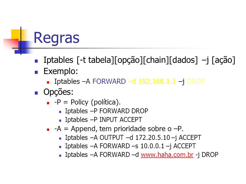 Regras Iptables [-t tabela][opção][chain][dados] –j [ação] Exemplo: